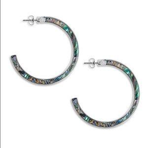 Lucky Brand Abalone Acetate Hoop Earrings
